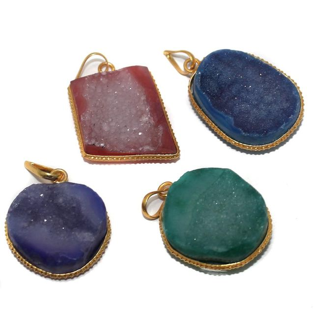 Agate Druzy Pendants Assorted 23-35 mm