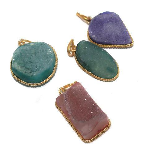 Agate Druzy Pendants Assorted 23-35 mm