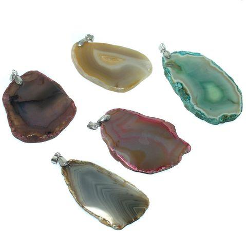 5 Pcs. Agate Druzy Slice Pendants Assorted 30-60 mm