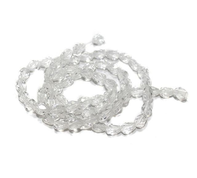 70+ Crystal Faceted Drop Beads Trans White 6x8 mm