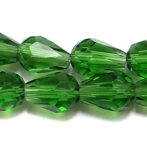 70 Faceted Crystal Drop Beads Green 7x5 mm