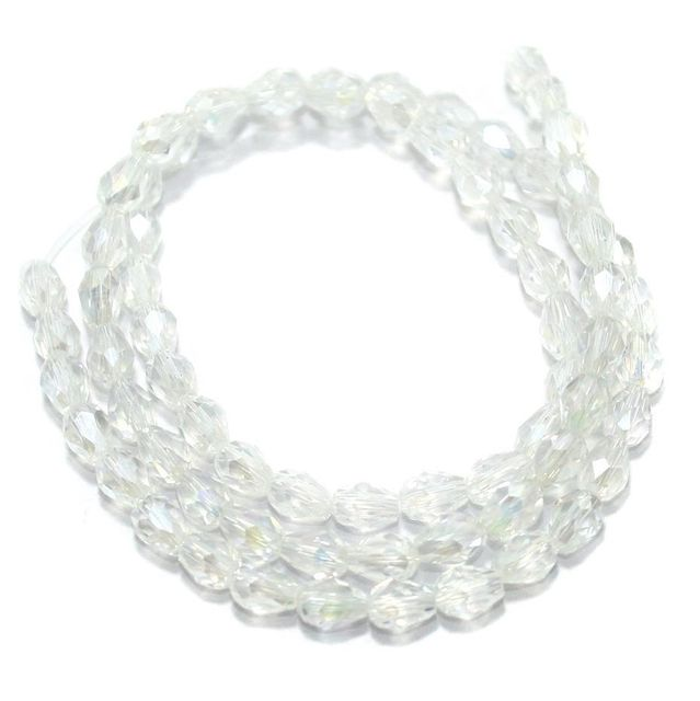 Faceted Crystal Beads Drop Shape 6x8mm 1 String Approx 70 Beads Rainbow White