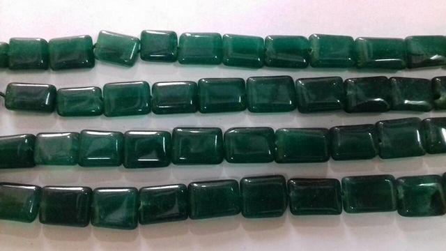Semiprecious Quartz Rectangle Green Stone