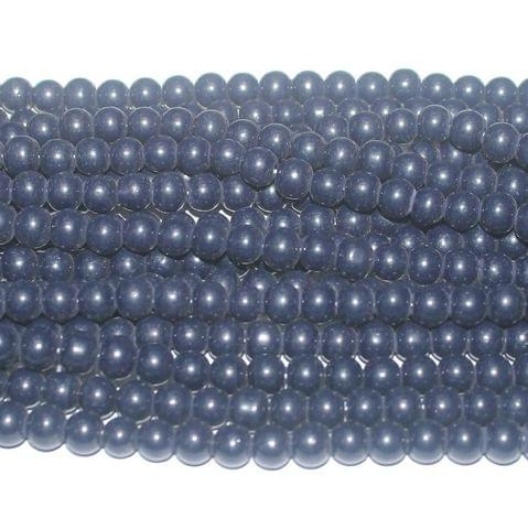 10 String. Round Glass Beads Nevy Blue. Size 8mm.