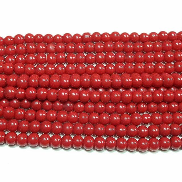 10 String. Round Glass Beads Red. Size 8mm.