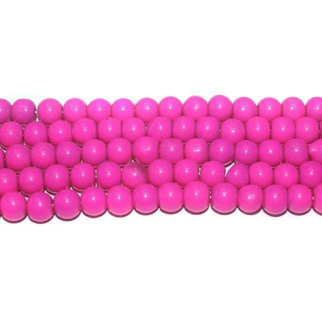 10 String. Glass Beads Round Pink. Size 8mm.