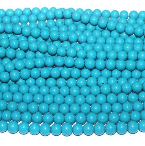 10 String. Glass Beads Round Sky Blue. Size 8mm.