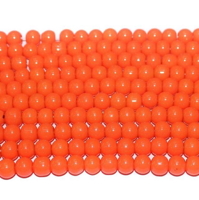 10 String. Glass Beads Round Orange. Size 8mm.