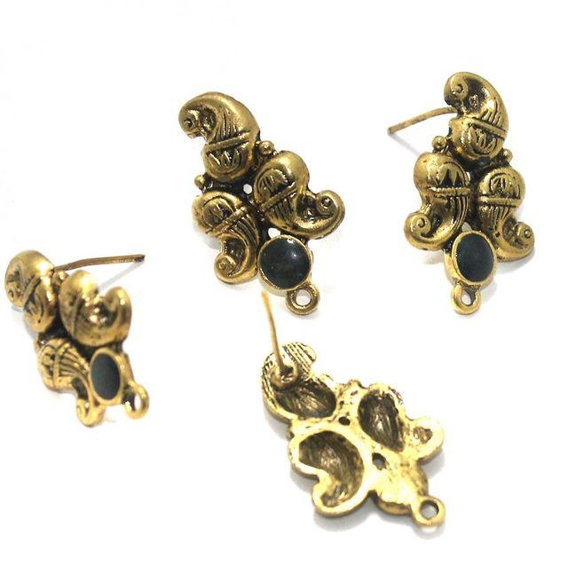 German Silver Meenakari Earrings Components 10 Pcs, 18x19mm Black