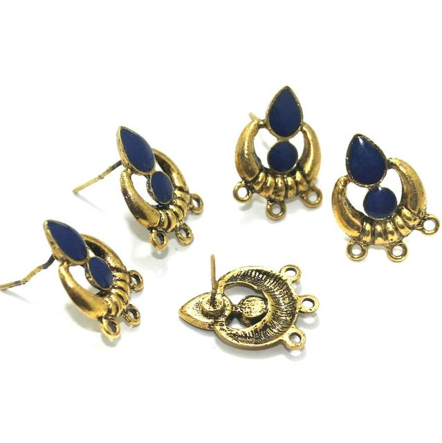 German Silver Meenakari Earrings Components 10 Pcs, 18x19mm Blue