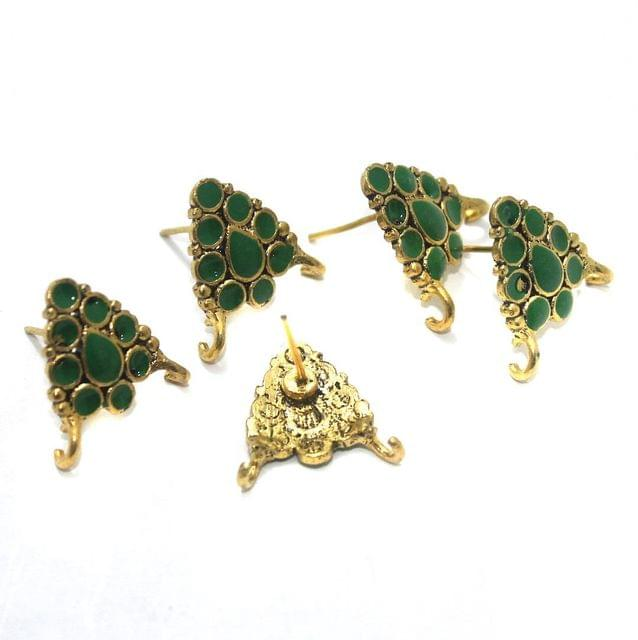 German Silver Meenakari Earrings Components 10 Pcs, 18x19mm Parrot Green