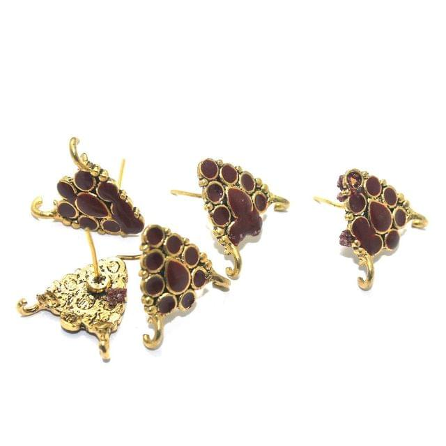 German Silver Meenakari Earrings Components 10 Pcs, 18x19mm Maroon