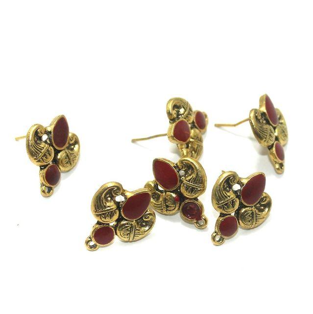 German Silver Meenakari Earrings Components 10 Pcs, 18x19mm Red