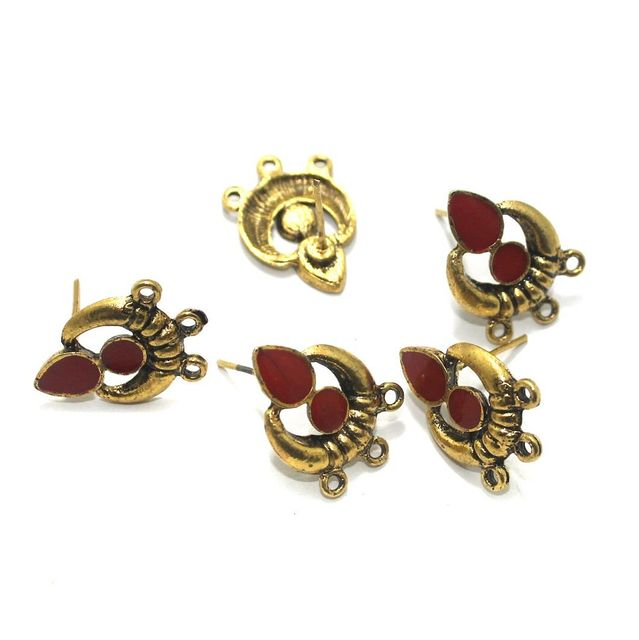 German Silver Meenakari Earrings Components 10 Pcs, 18x19mm Red