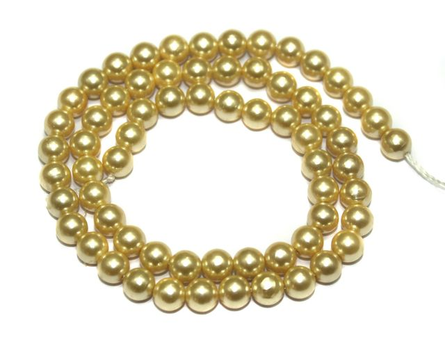 Natural Freshwater Round Pearl Beads Ivory, Size 7mm, Pack of 1 Strings