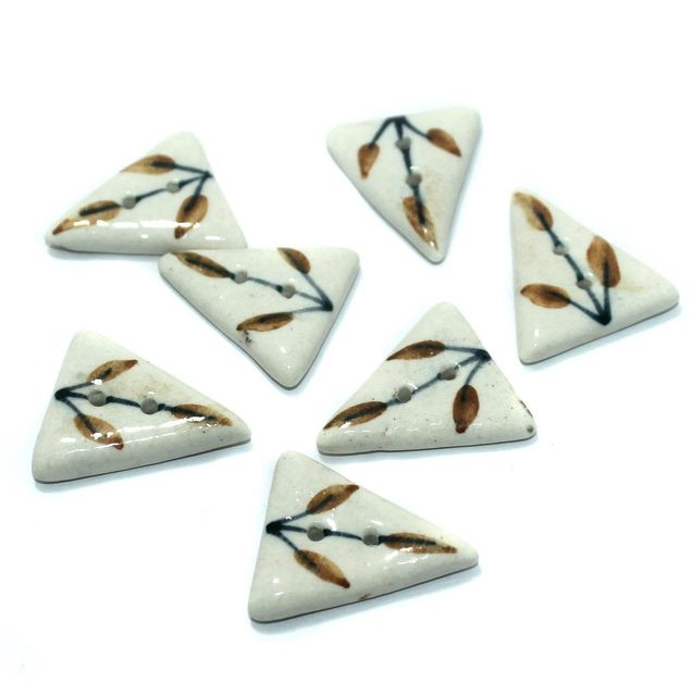 Ceramic Beads White Triangular 38 Pcs 32x29mm