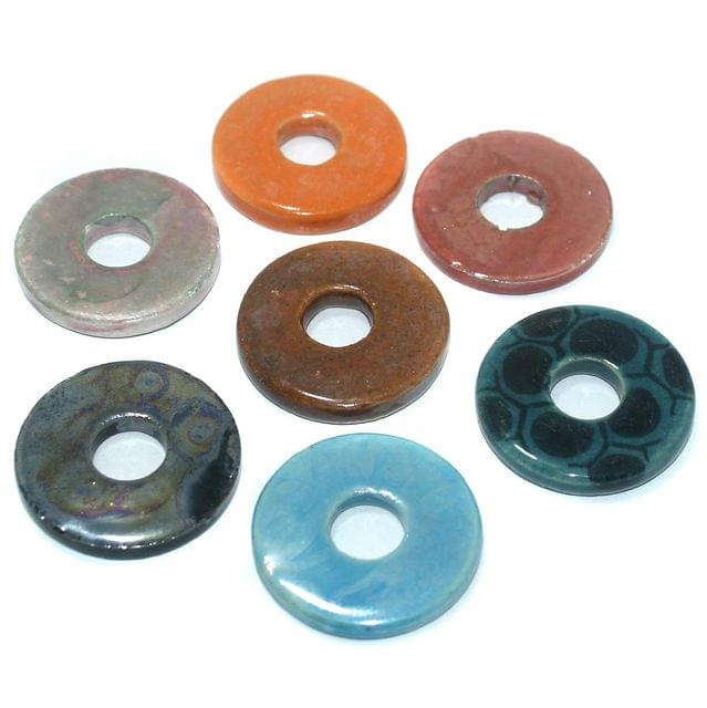 Ceramic Beads Multicolor Round 25 Pcs 39x6mm