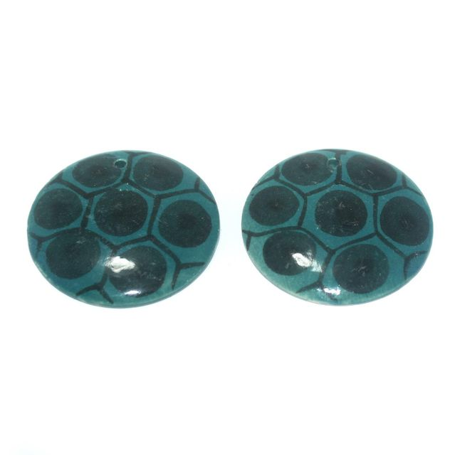 Ceramic Beads Teal Round 7 Pcs 50mm