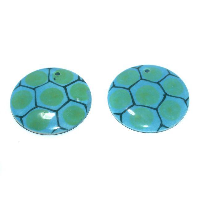 Ceramic Beads Turquoise Round 7 Pcs 50mm