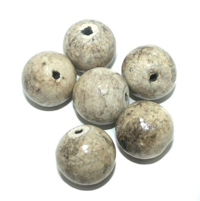 Ceramic Beads White Round 20 Pcs 25mm