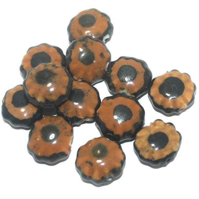 Ceramic Beads Brown Disc 64 Pcs 16x8mm