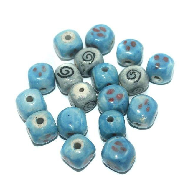 Ceramic Beads Turquoise Dice 43 Pcs 14x13mm
