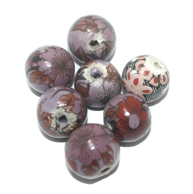 Ceramic Beads Purple Round 25 Pcs 18x20mm