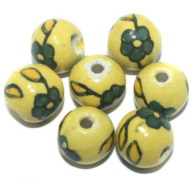 Ceramic Beads Yellow Round 25 Pcs 19x21mm