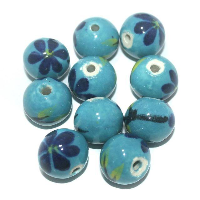 Ceramic Beads Turquoise Round 25 Pcs 18x21mm