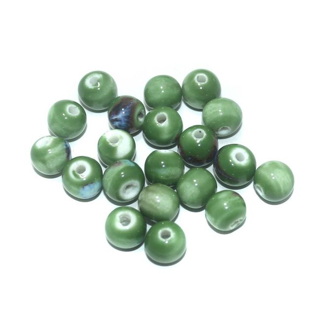 Ceramic Beads Green Round 67 Pcs 8x10mm