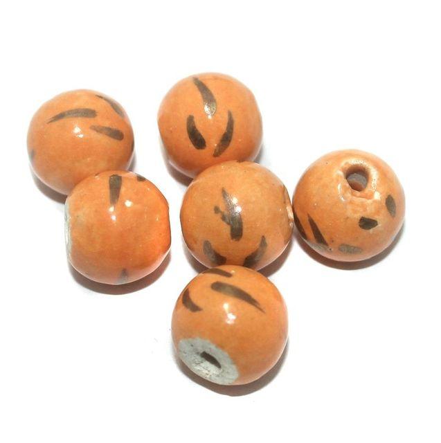Ceramic Beads Orange Round 12 Pcs 16mm