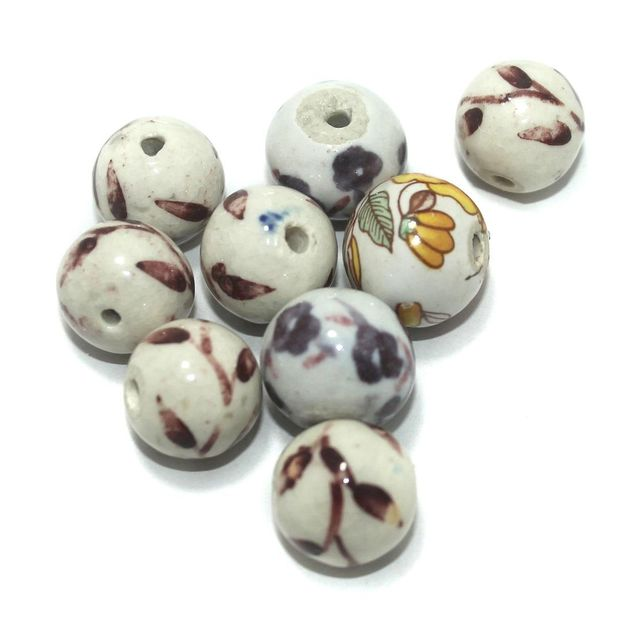 Ceramic Beads White Round 25 Pcs 18x20mm
