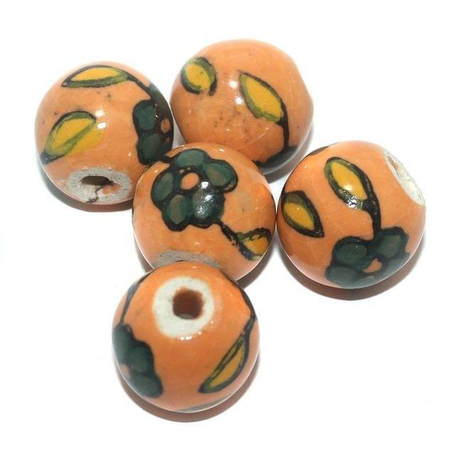Ceramic Beads Orange Round 18 Pcs 20mm