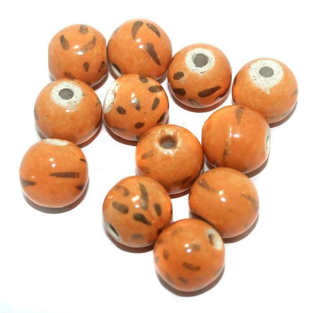 Ceramic Beads Orange Round 25 Pcs 16x15mm