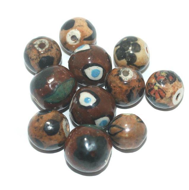 Ceramic Beads Brown Round 25 Pcs 17x16mm