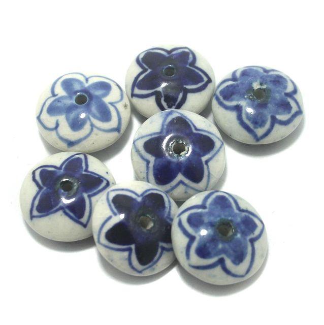 Ceramic Beads Blue Round 12 Pcs 25x11mm
