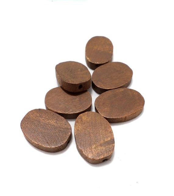 50 Pcs. Wooden Flat Oval Beads Chocolate 24x17 mm