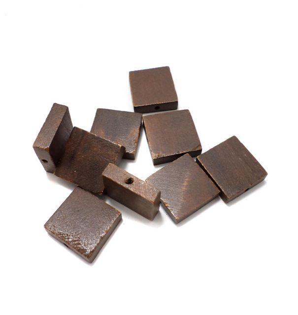 50 Pcs. Wooden Flat Square Beads Chocolate 22x22 mm