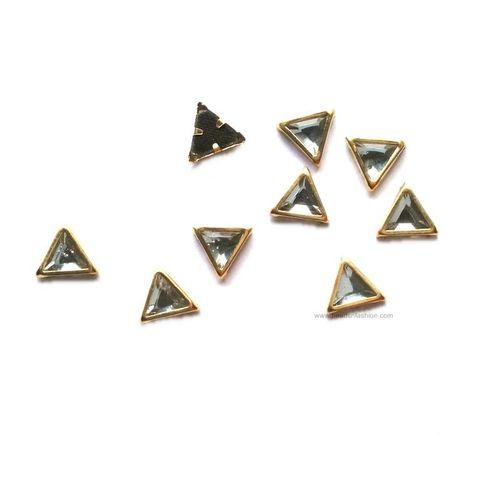Triangular Kundan stones Golden Prongs for Kundan jewellery making rangoli, crafts, silk thread jewellery making