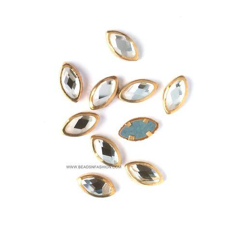 10 mm Marquise Kundan eye shaped kundan stones Golden Prongs for Kundan jewellery making rangoli crafts