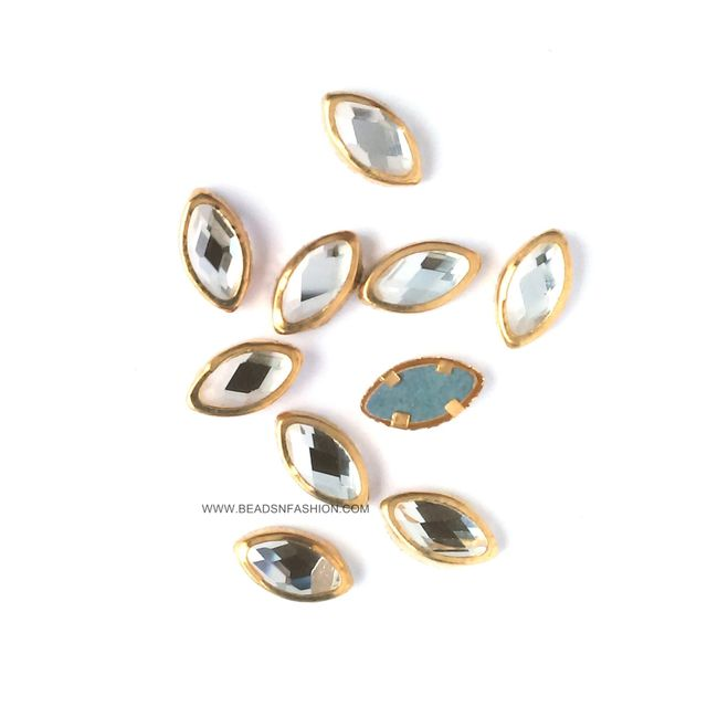 10 mm Marquise Kundan eye shaped kundan stones Golden Prongs for Kundan jewellery making rangoli crafts
