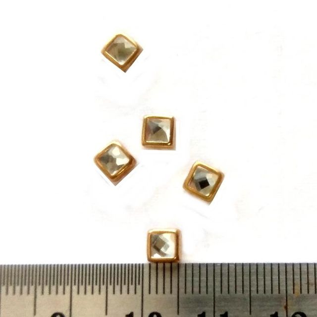 4 mm Square Kundan stones Golden Prongs for Kundan jewellery making rangoli crafts
