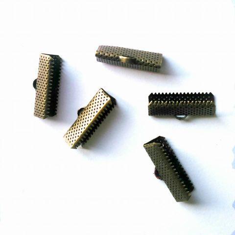 Ribbon Ends. Cord Ends. Antique Bronze 35 Pcs