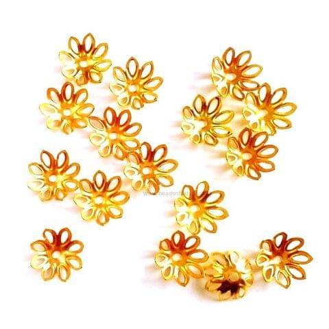 Golden Flower Bead Caps 15 mm big bead caps