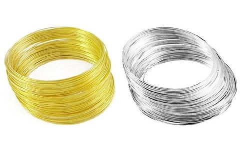Jewellery Making Memory Wire Silver & Golden (50 Loops Each Color), Size : 2.4