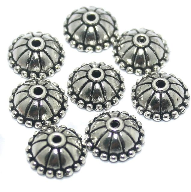 50 Pcs German Silver Bead Caps 10x4