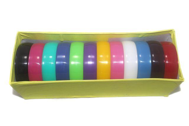 Beadsnfashion Acrylic Colourful Broad Bangles Kada For Silk Thread Jewellery Making, Full Box 12 Pcs, Size2.6