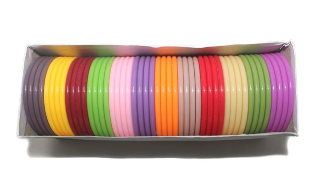 Beadsnfashion Acrylic Colouful Slim Bangles For Silk Thread Jewellery Making, Full Box 48 Pcs, Size 2.8