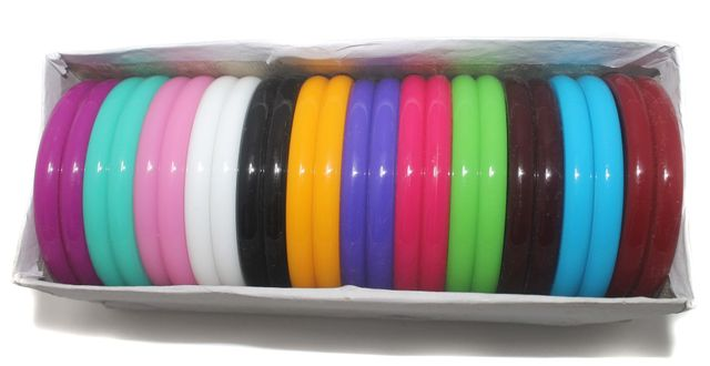 Beadsnfashion Acrylic Colourful Bangles Kada For Silk Thread Jewellery Making, Full Box 24 Pcs, Size2.4