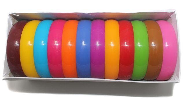 Beadsnfashion Acrylic Colourful Broad Bangles Kada For Silk Thread Jewellery Making, Full Box 12 Pcs, Size2.2